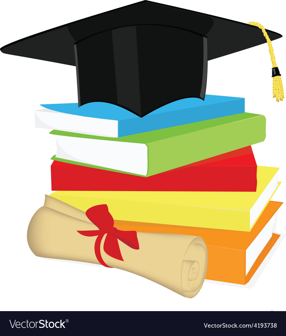 book stack graduation cap and diploma royalty free vector