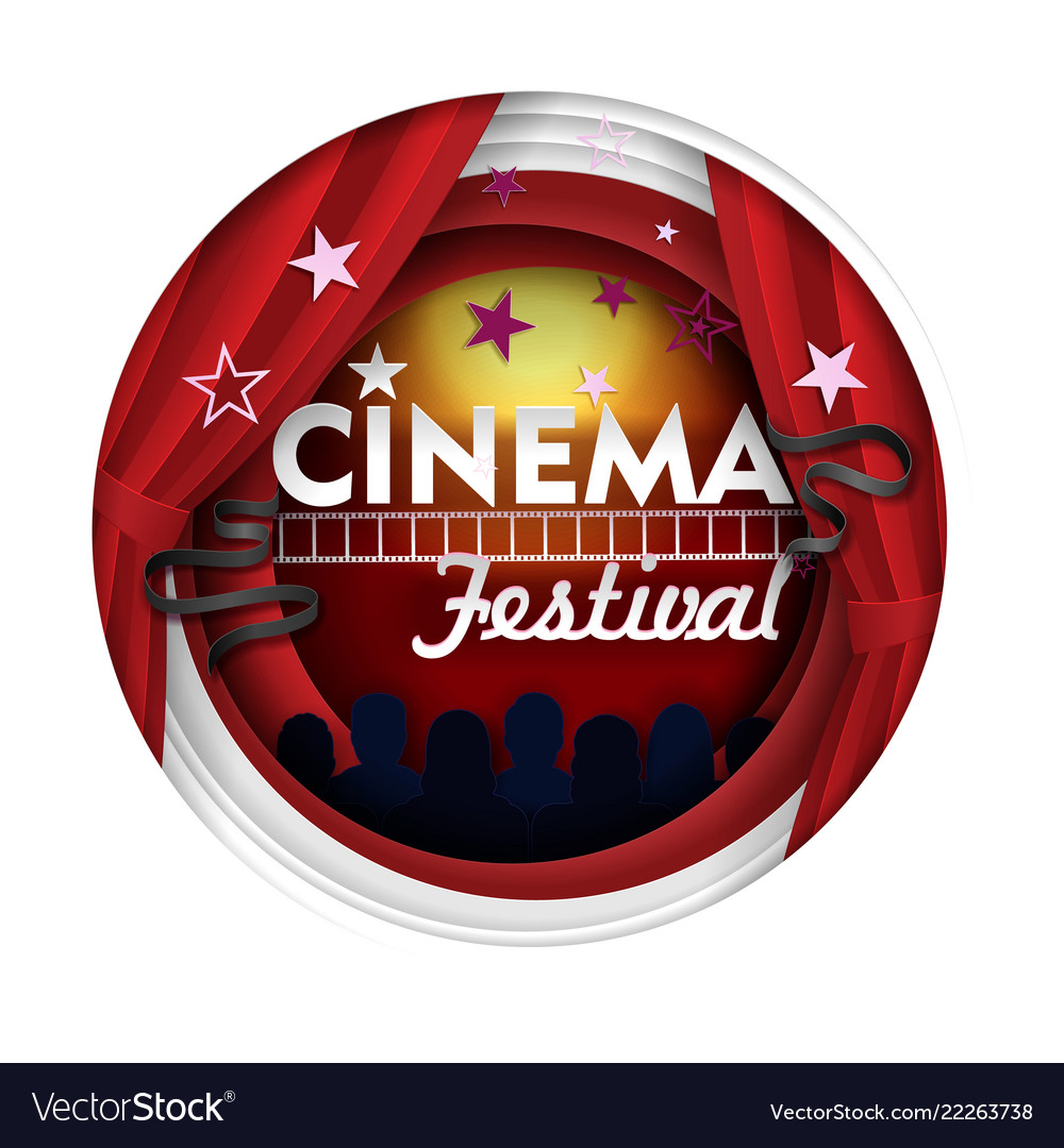 Cinema festival paper cut poster banner