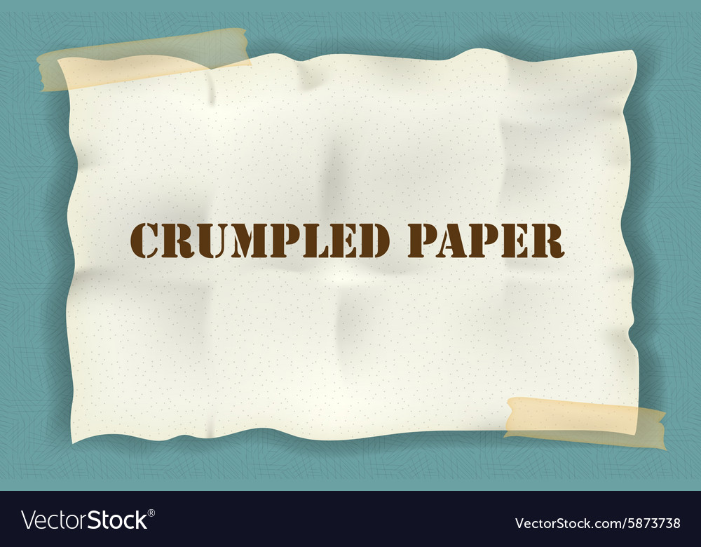 Crumpled paper with tape on blue background