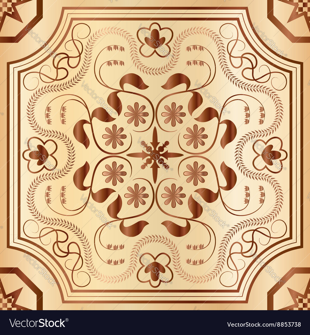 Floral wood mosaic seamless pattern vector image