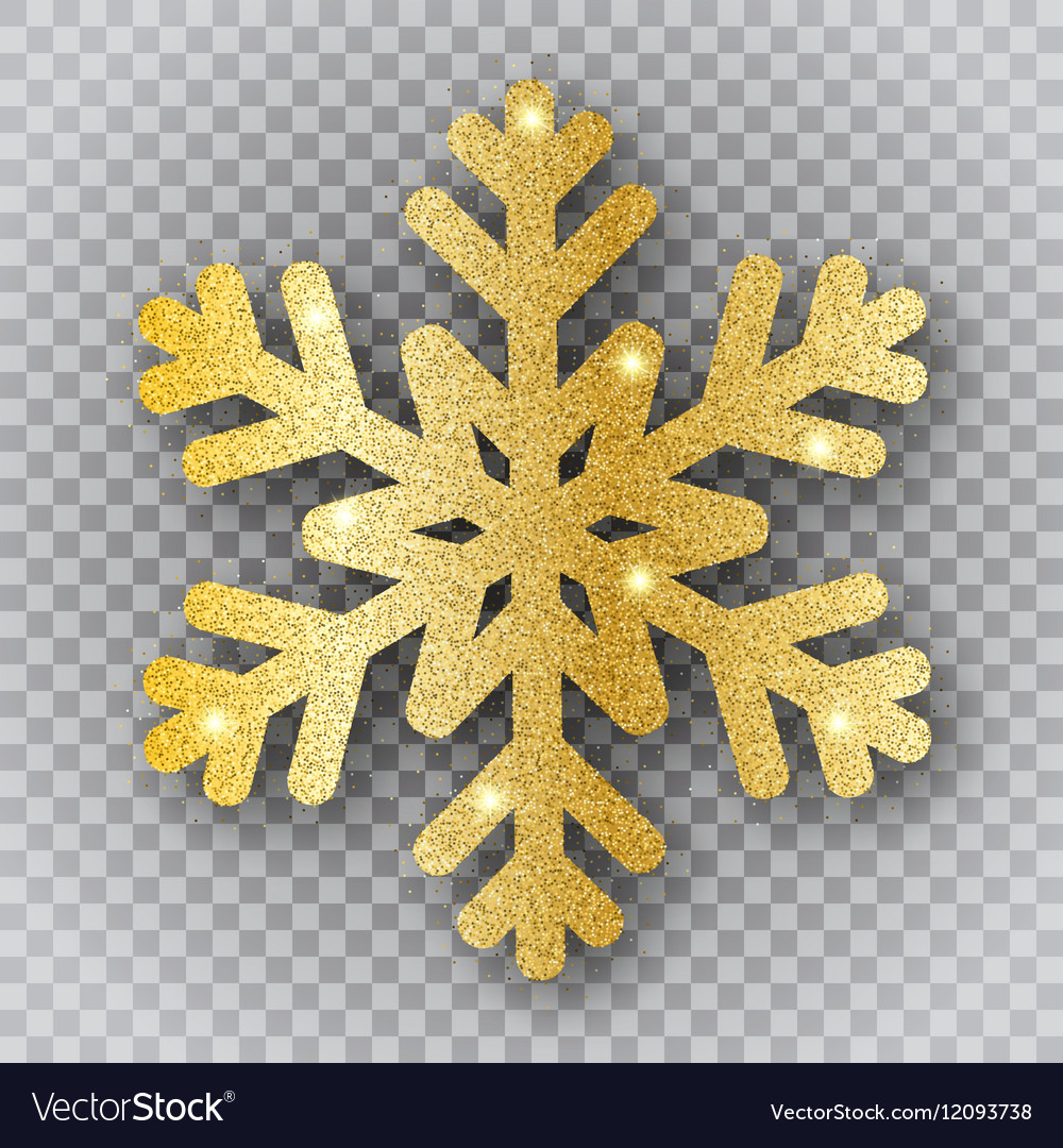 Golden snowflake on transparent background