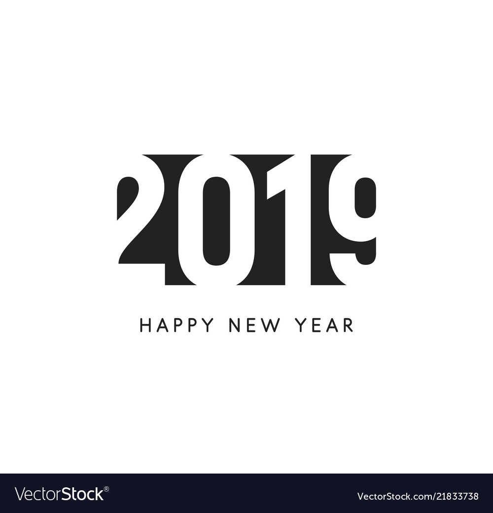 Happy new 2019 year sign black negative space