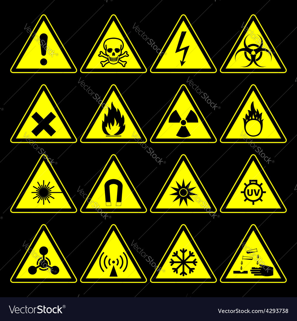 Hazard Symbols And Signs Collection Royalty Free Vector