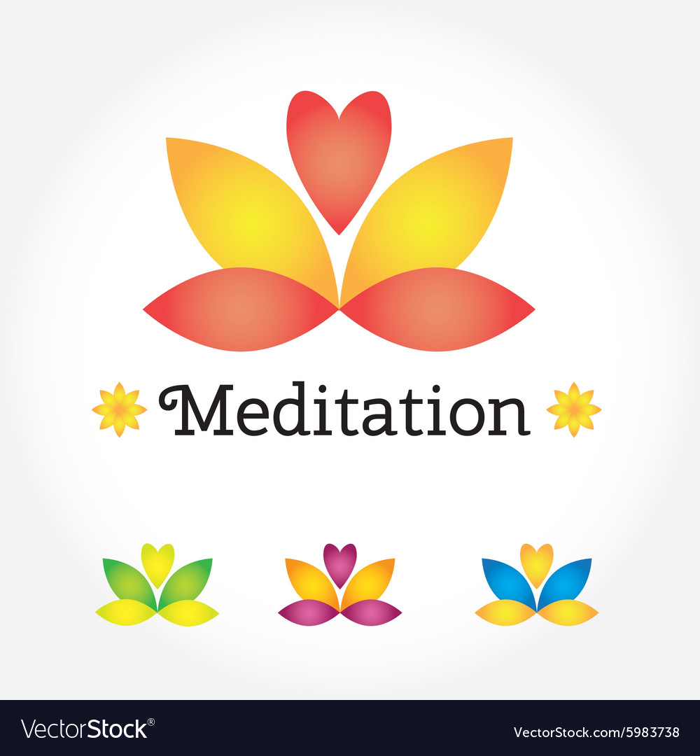 Meditation Yoga Sign Lotus Flower In Different Vector Image