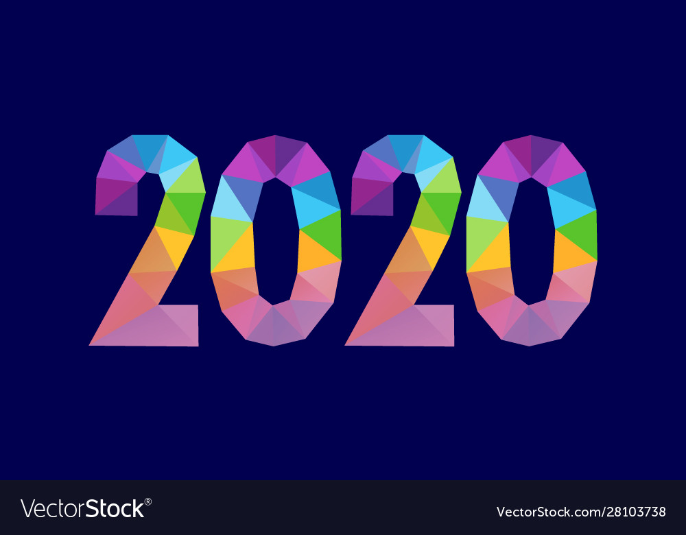 Numbers 2020 triangle shape polygonal design