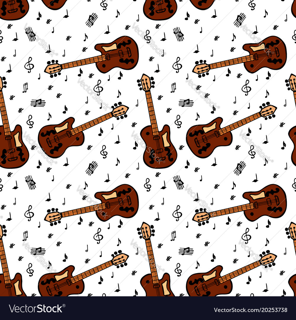 Painted brown bass guitar and musical notes
