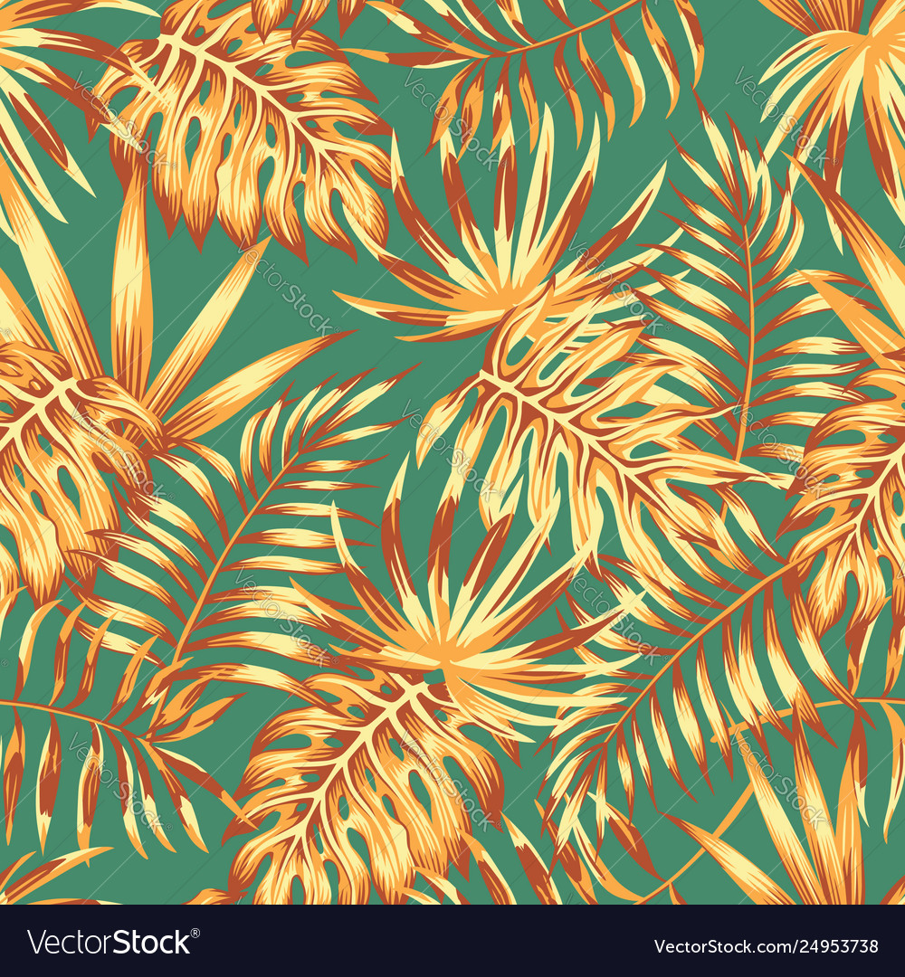 Palm leaves retro color seamless pattern