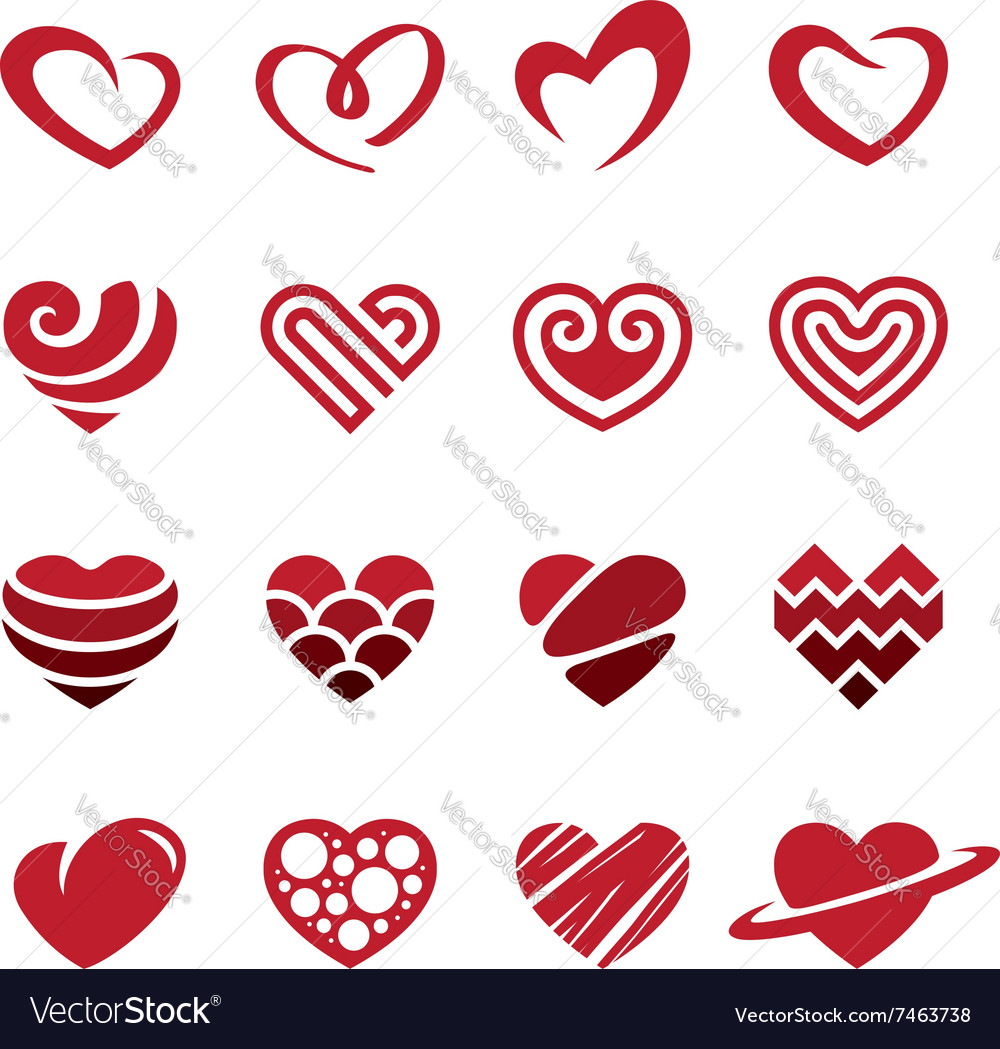 Red hearts icons set