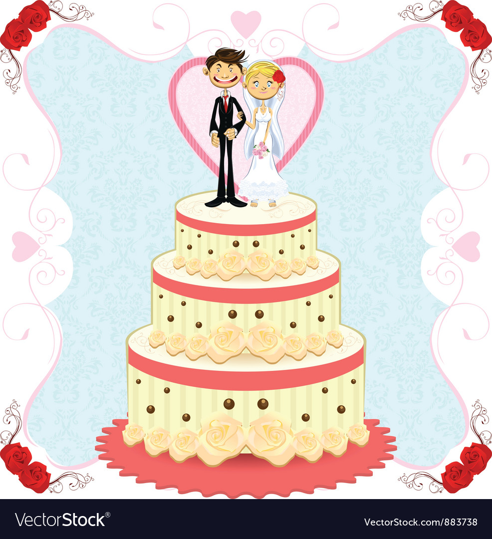 Romantic Wedding Cake Royalty Free Vector Image