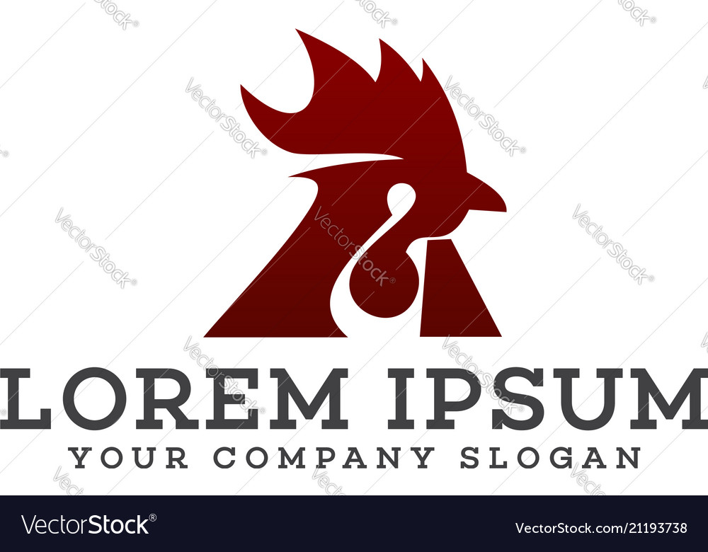 Rooster logo design concept template