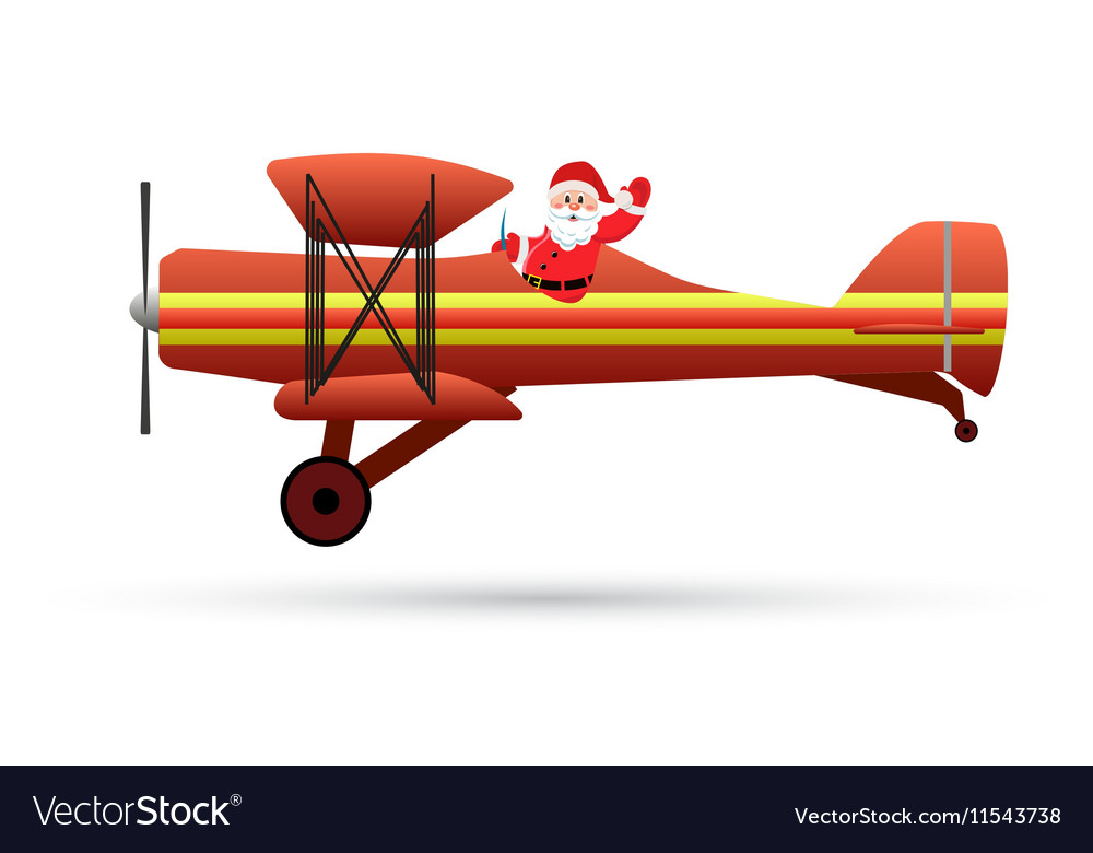 Santa Claus flying with