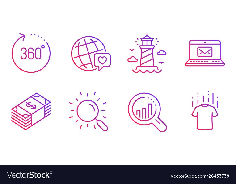 Seo analysis world brand and e-mail icons set