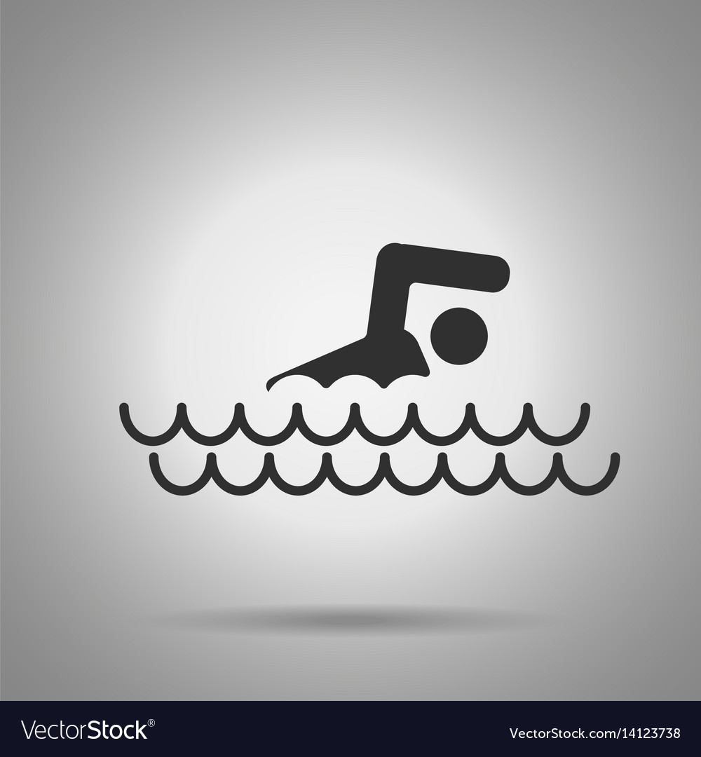 Swimming pool icon man and waves icon vector image