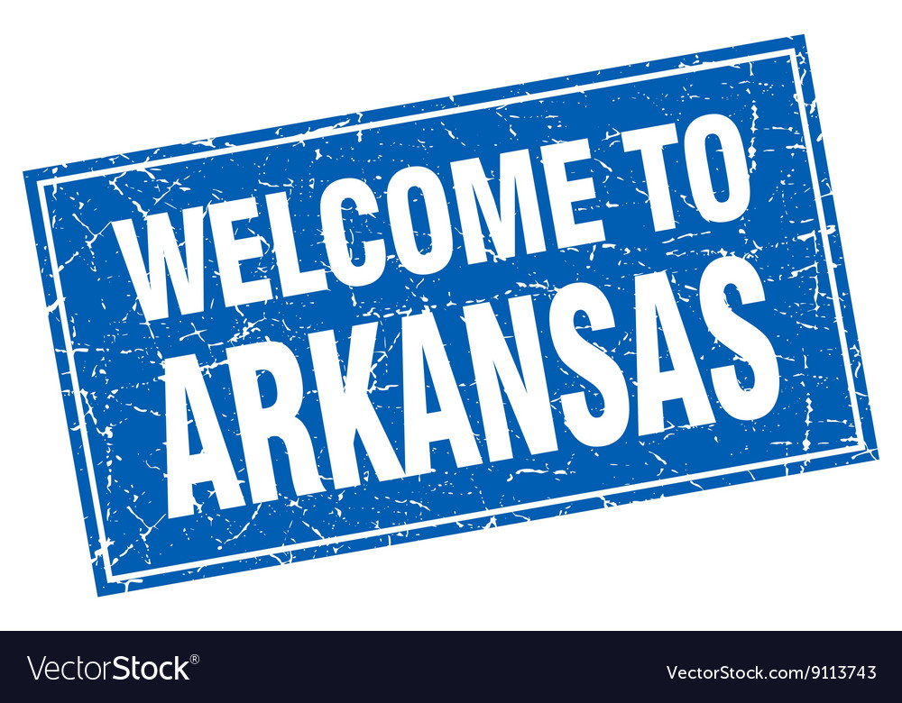 Arkansas blue square grunge welcome to stamp