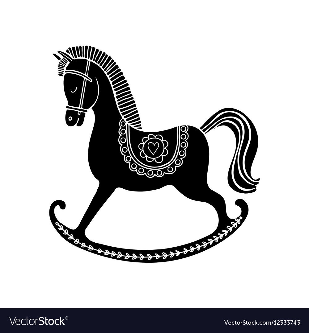 Black Rocking horse vector image