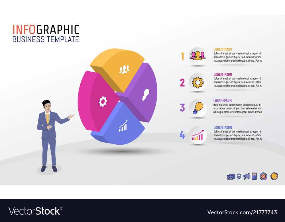 Business infographic template circle style 4 steps