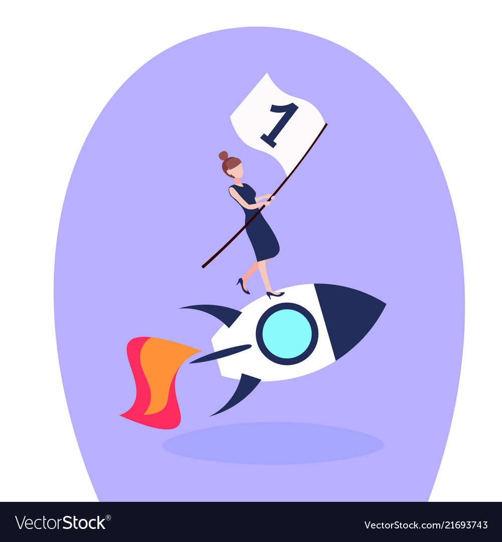 Businesswoman flying space rocket first place flag