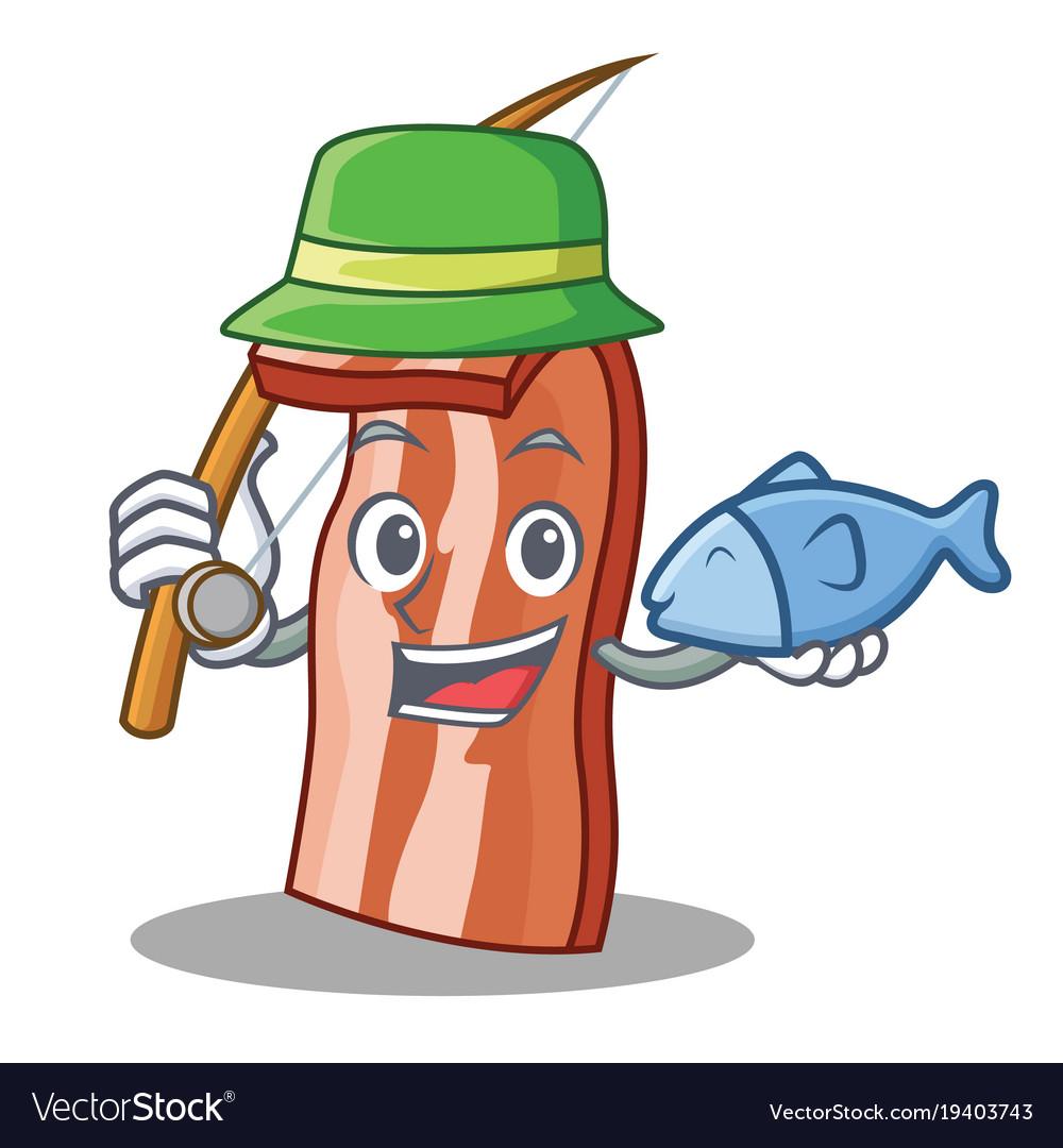 Fishing bacon mascot cartoon style