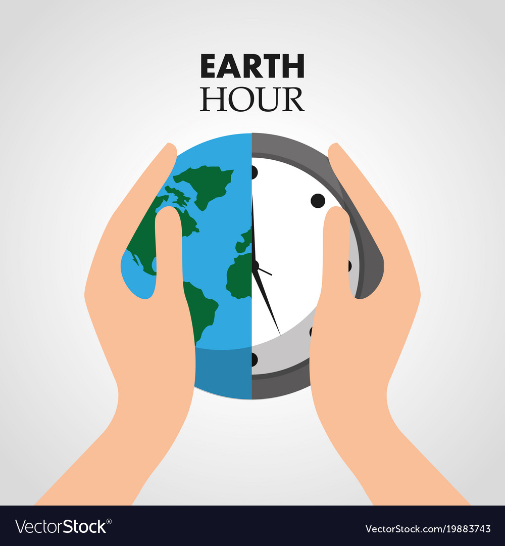 Hand holding earth hour clock protection eco