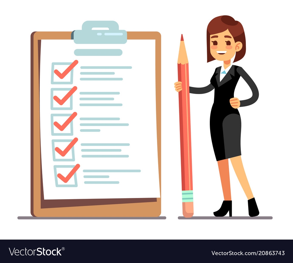 Happy woman holding pencil at giant schedule