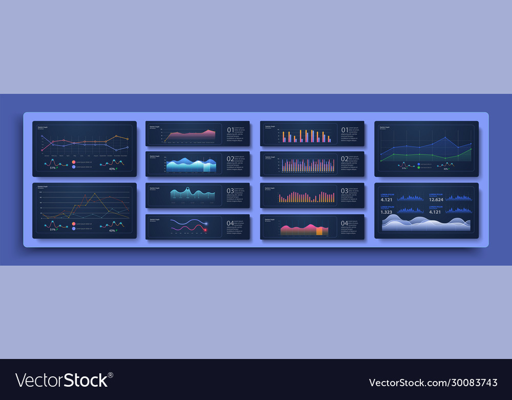 Modern infographic template with statistics graphs