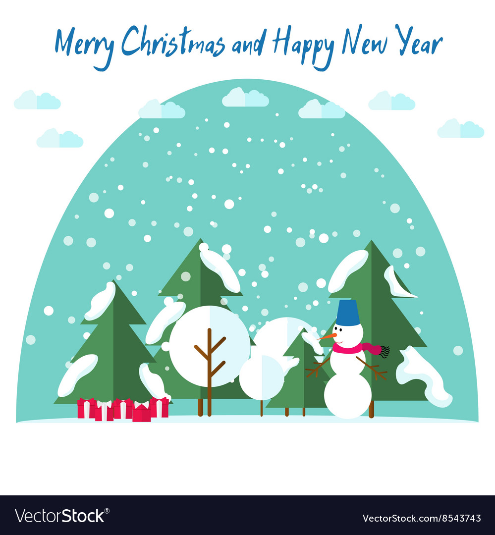 New Years and Christmas cards Fir trees in the vector image