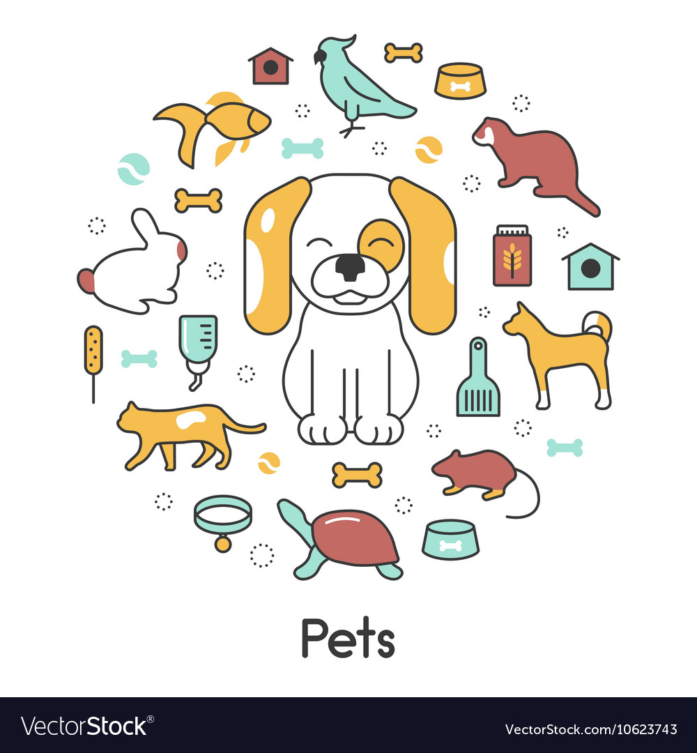 Pets line art thin icons set with dog cat