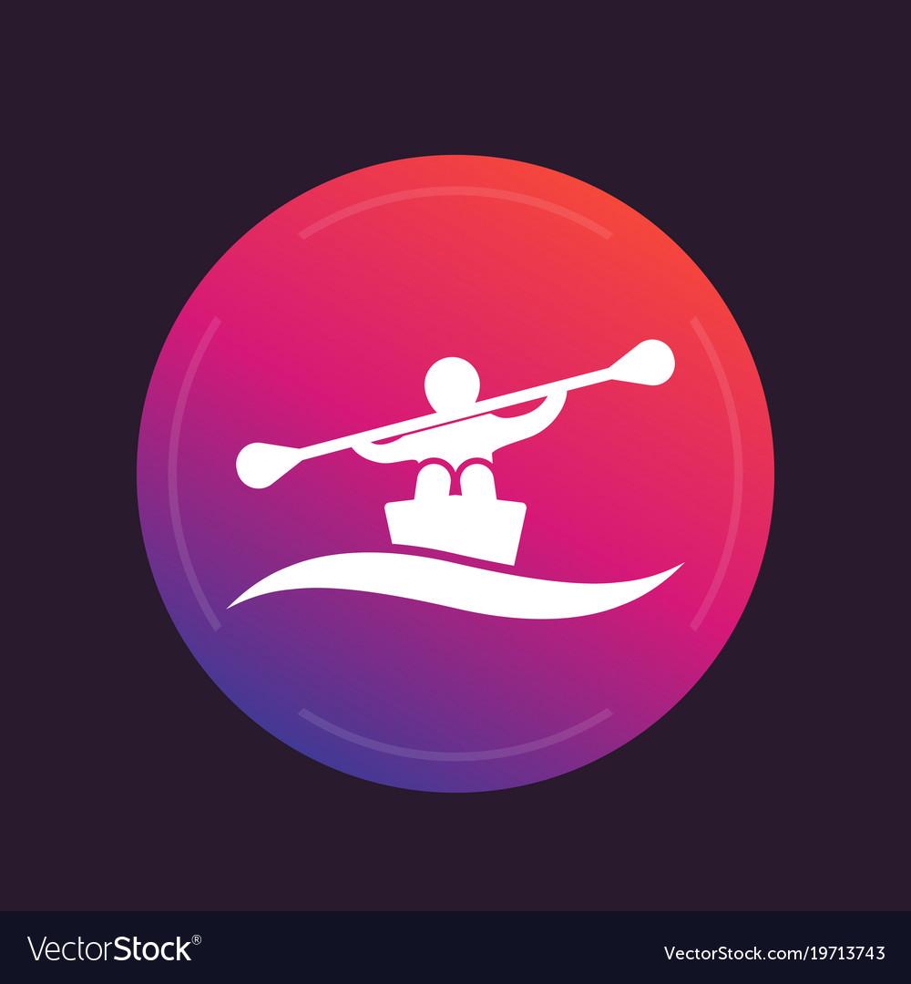 Rowing kayak canoe icon