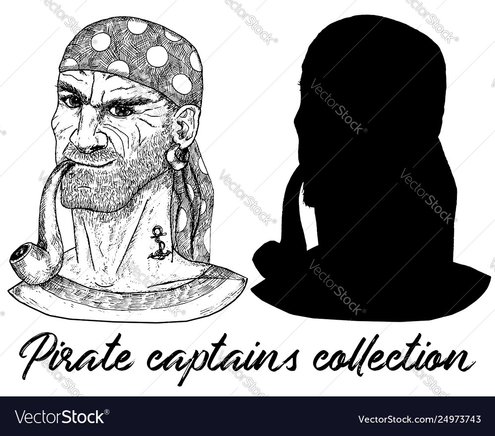 Sea captain pirate or boatswain and silhouette