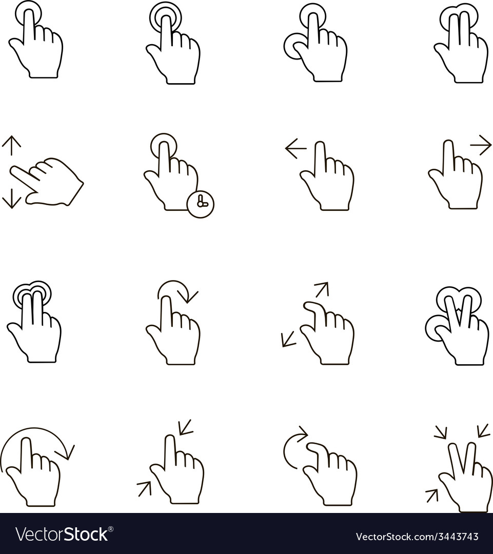 Touch Gestures Icons outline on white background vector image