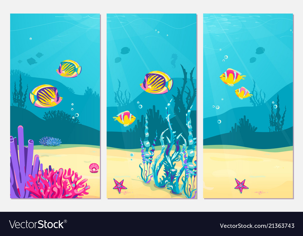 Underwater scene cartoon flat background with fish