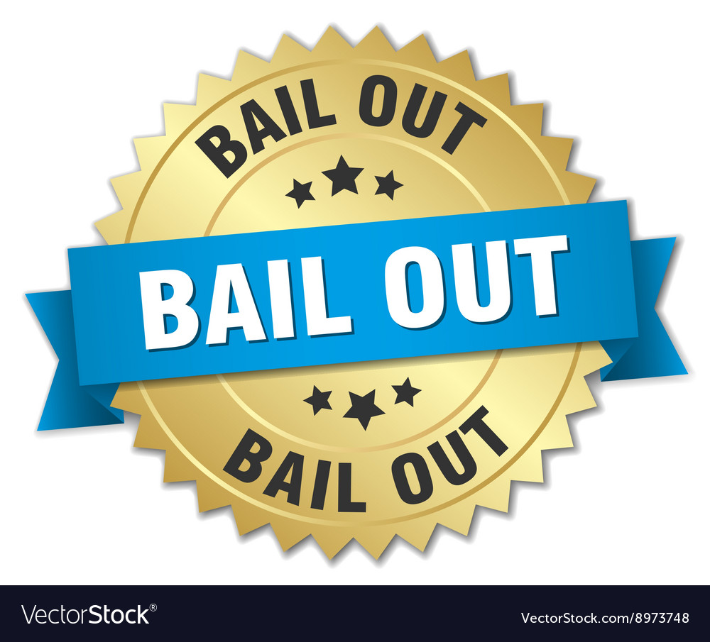 Bail out 3d gold badge with blue ribbon vector image