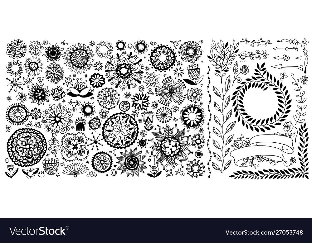 Big set doodle sketch flower design elements