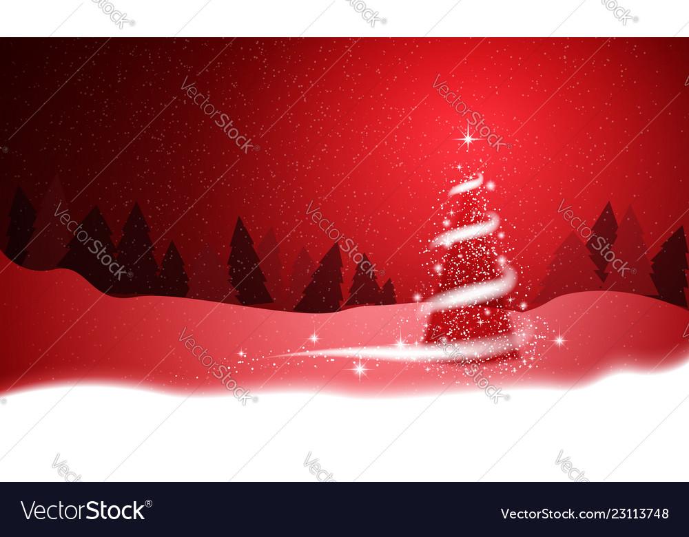 Christmas tree blizzard stars snow sky night red