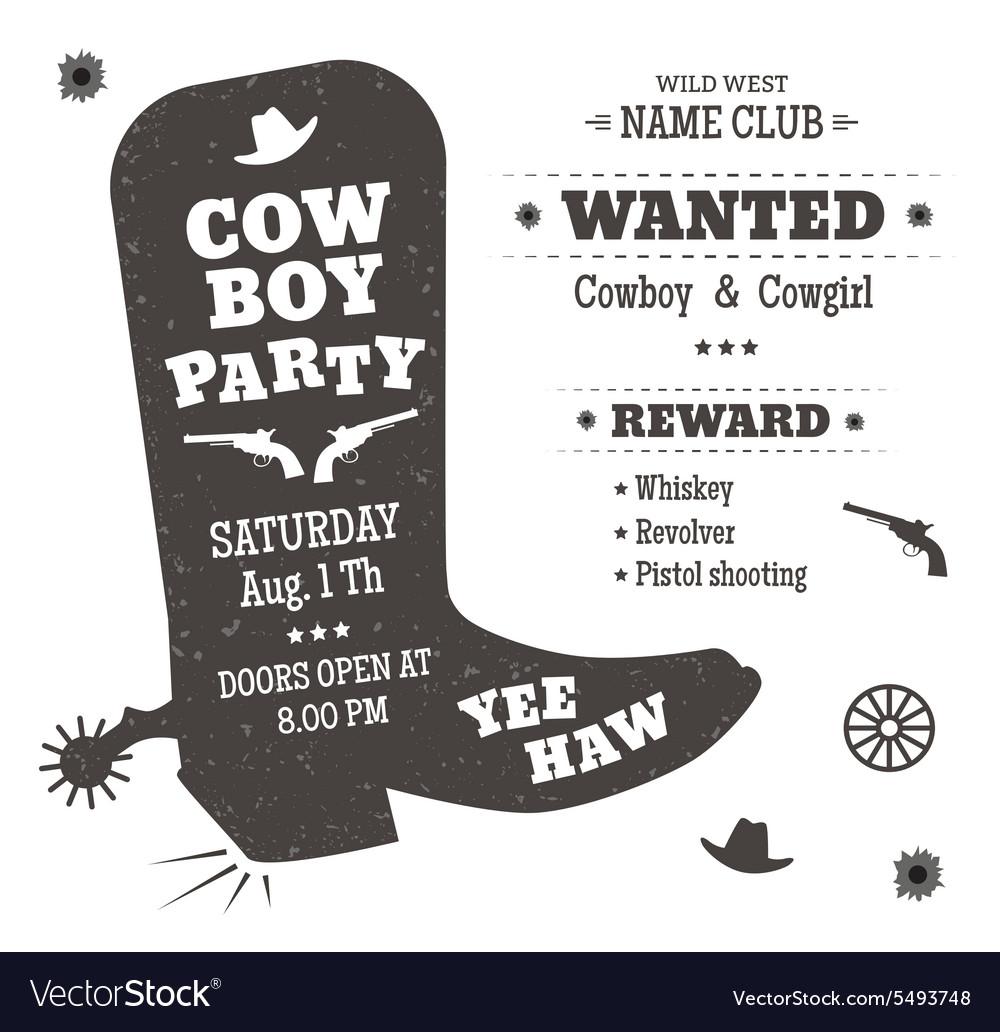 Cowboy party vector image
