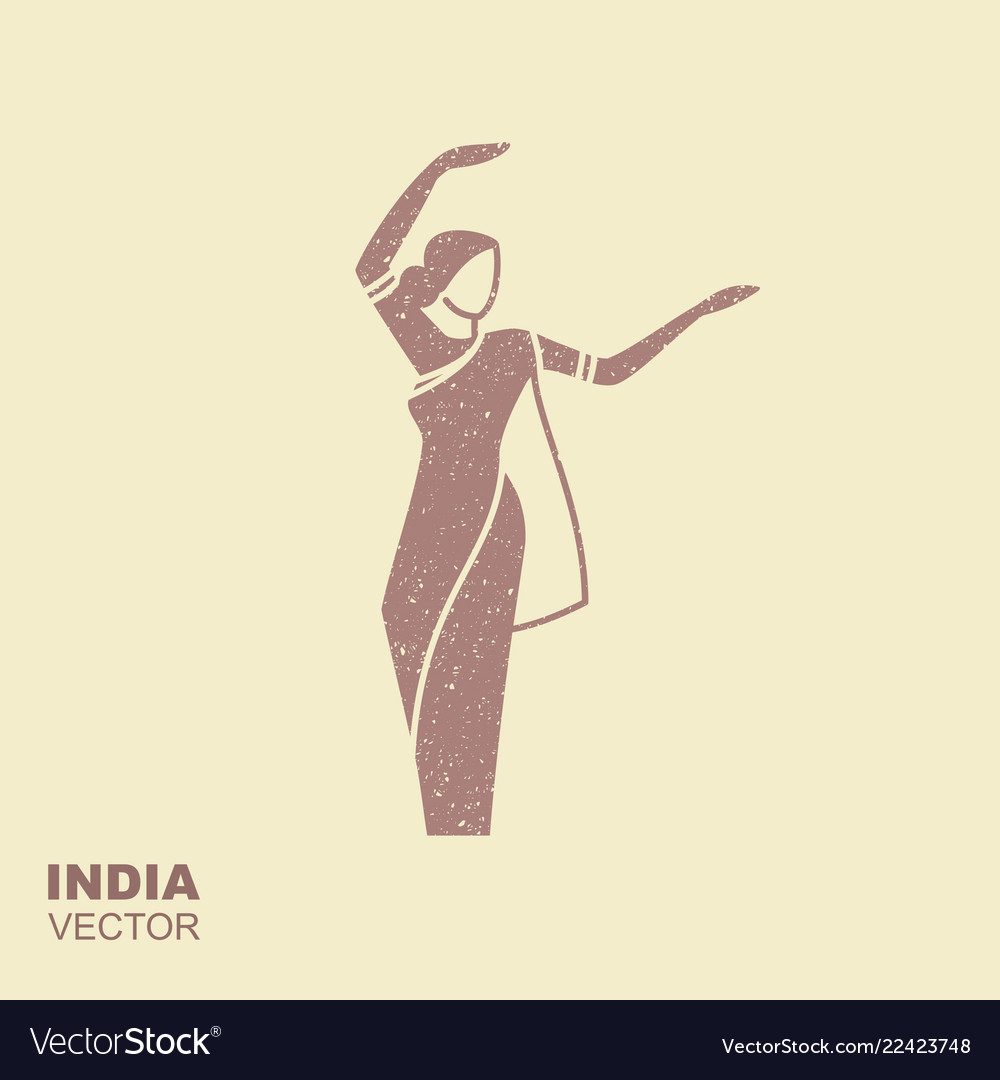 Dancing indian woman in traditional clothing flat