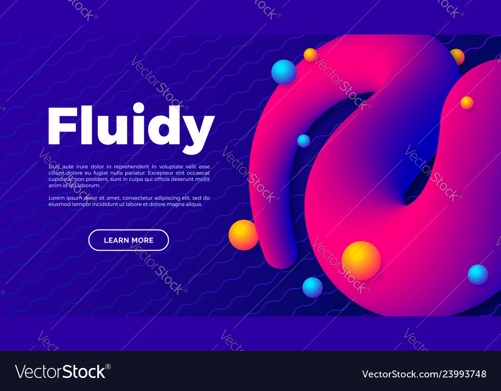 Fluid shape with colorful balls creative landing