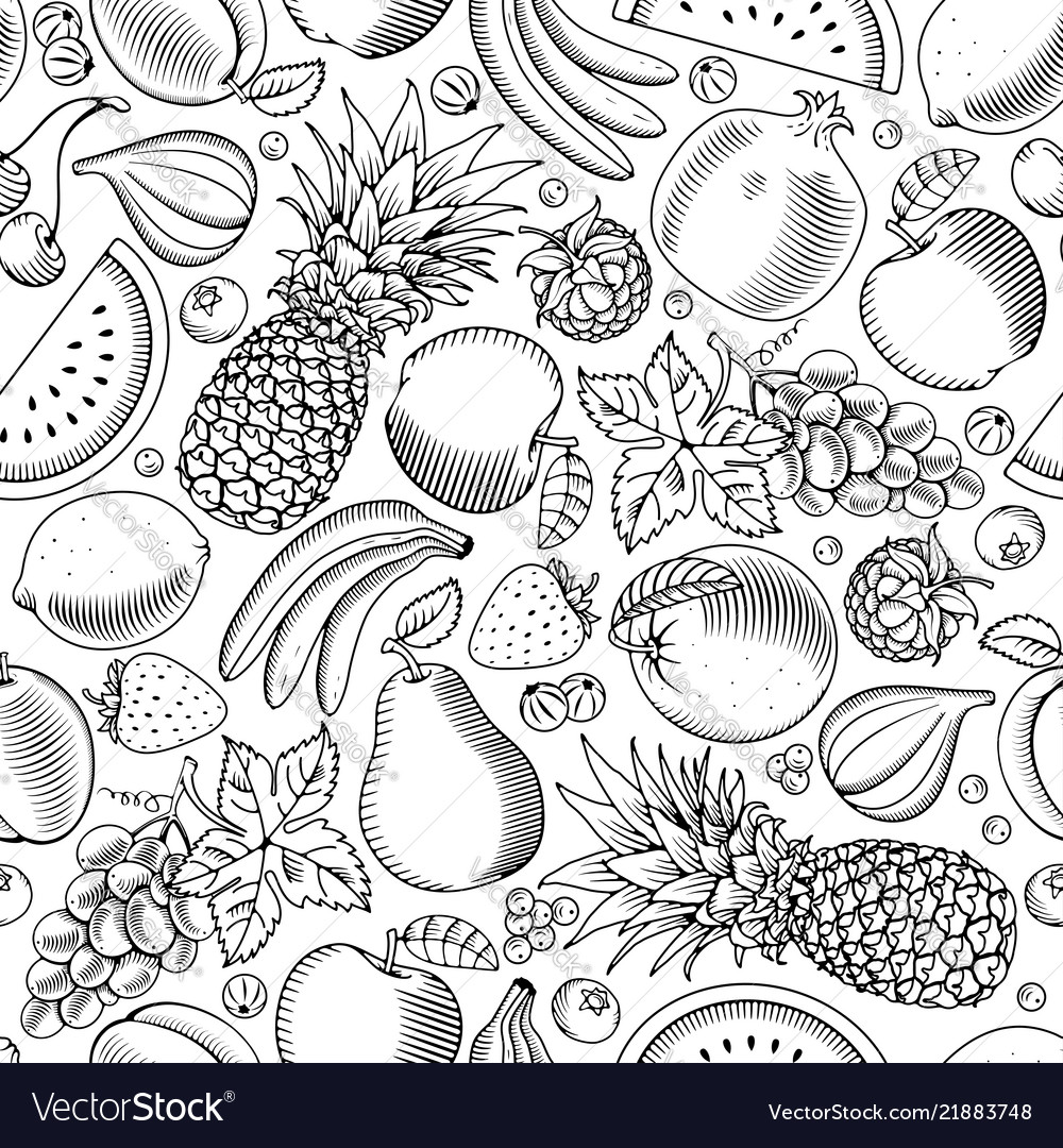 Fruit and berries seamless pattern