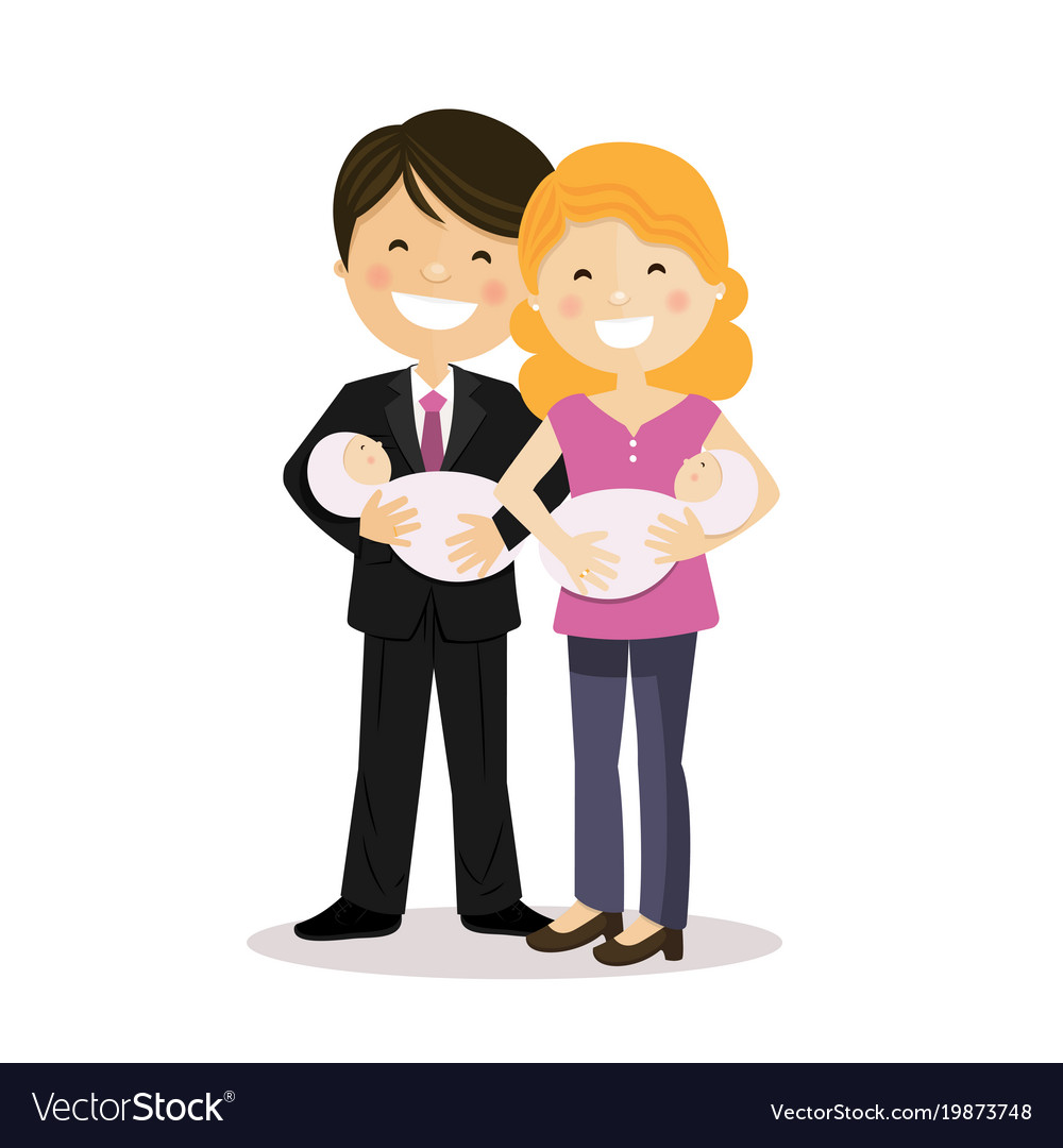 Happy Parents With Twin Baby Girls Royalty Free Vector Image
