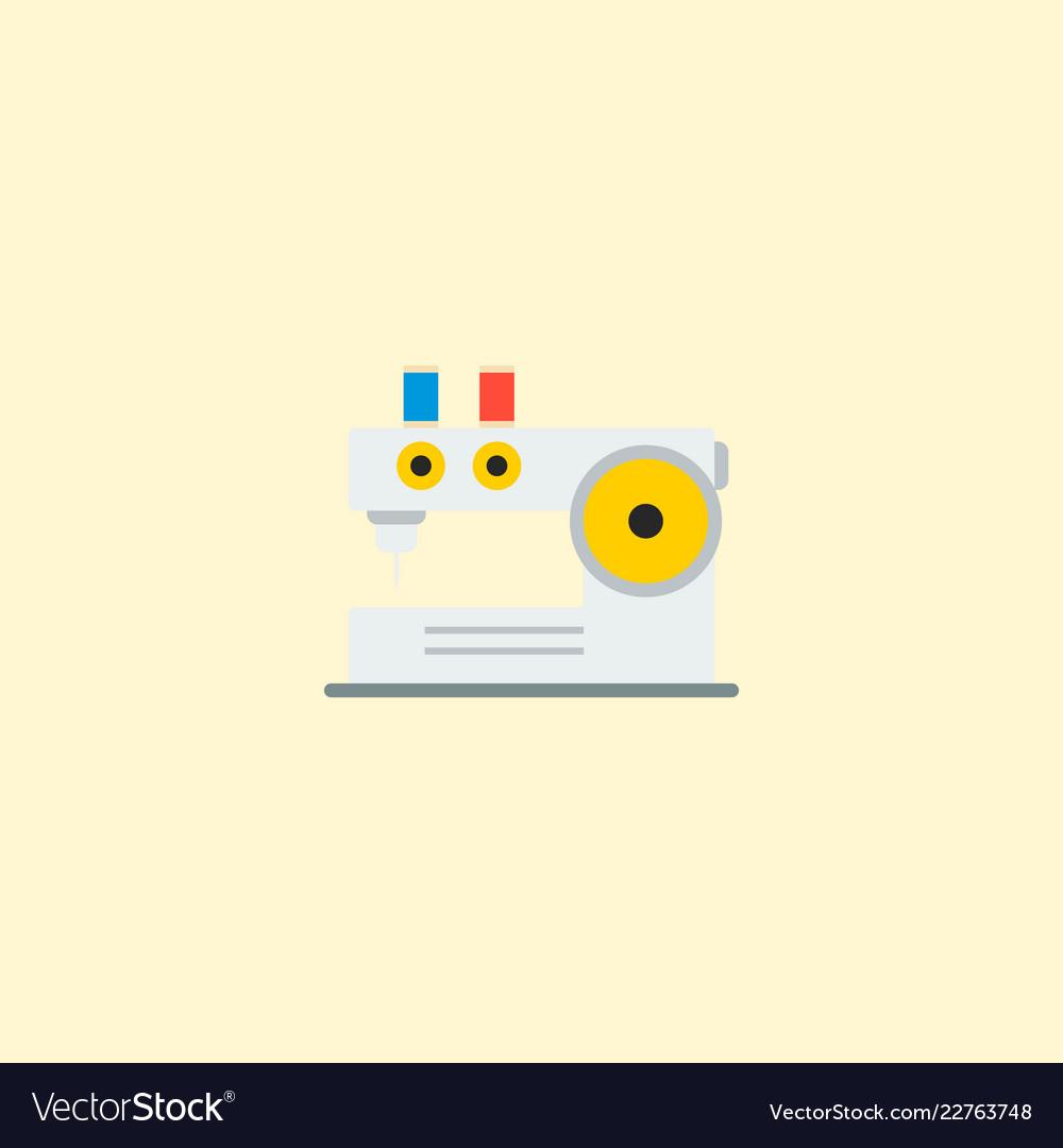 Knitting machine icon flat element
