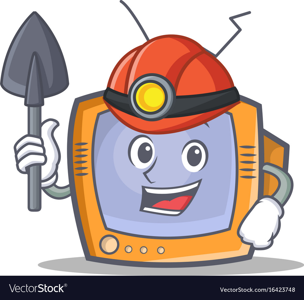 Miner tv character cartoon object vector image