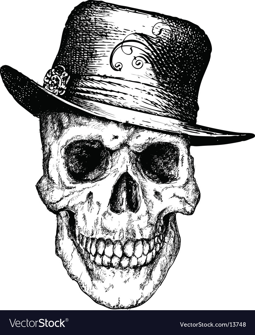 Pimp skull illustration vector image