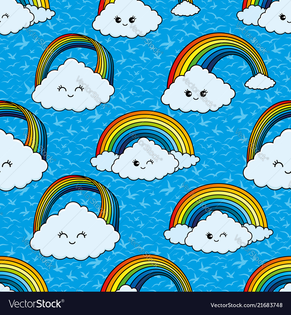 Seamless pattern with clouds and a rainbow
