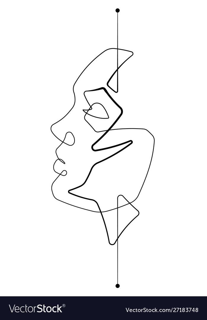 Serene female face single line