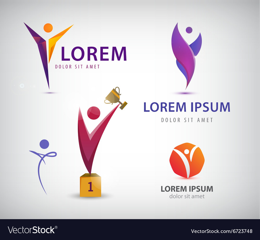 Set of man human leadership logos icons