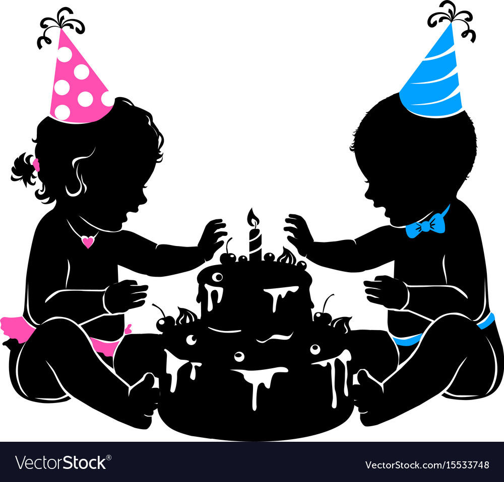 Silhouette baby twins with birthday cake with