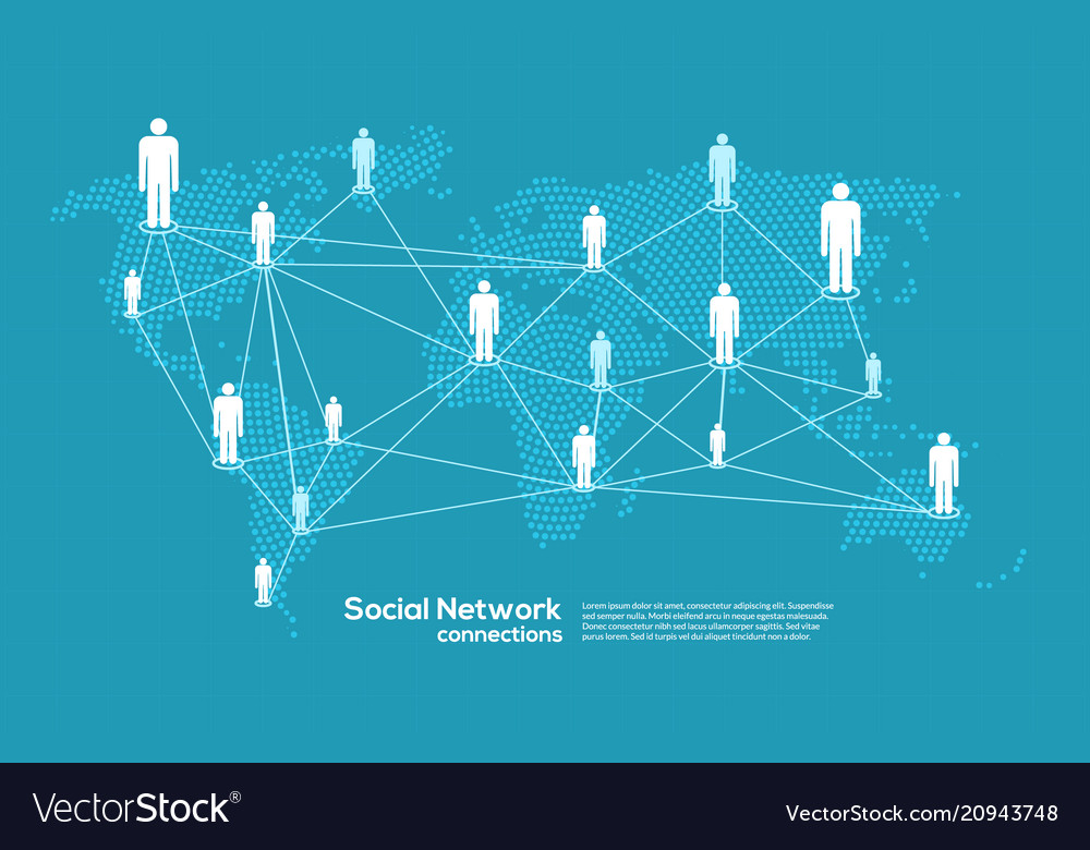 Social media and network connection map concept vector image