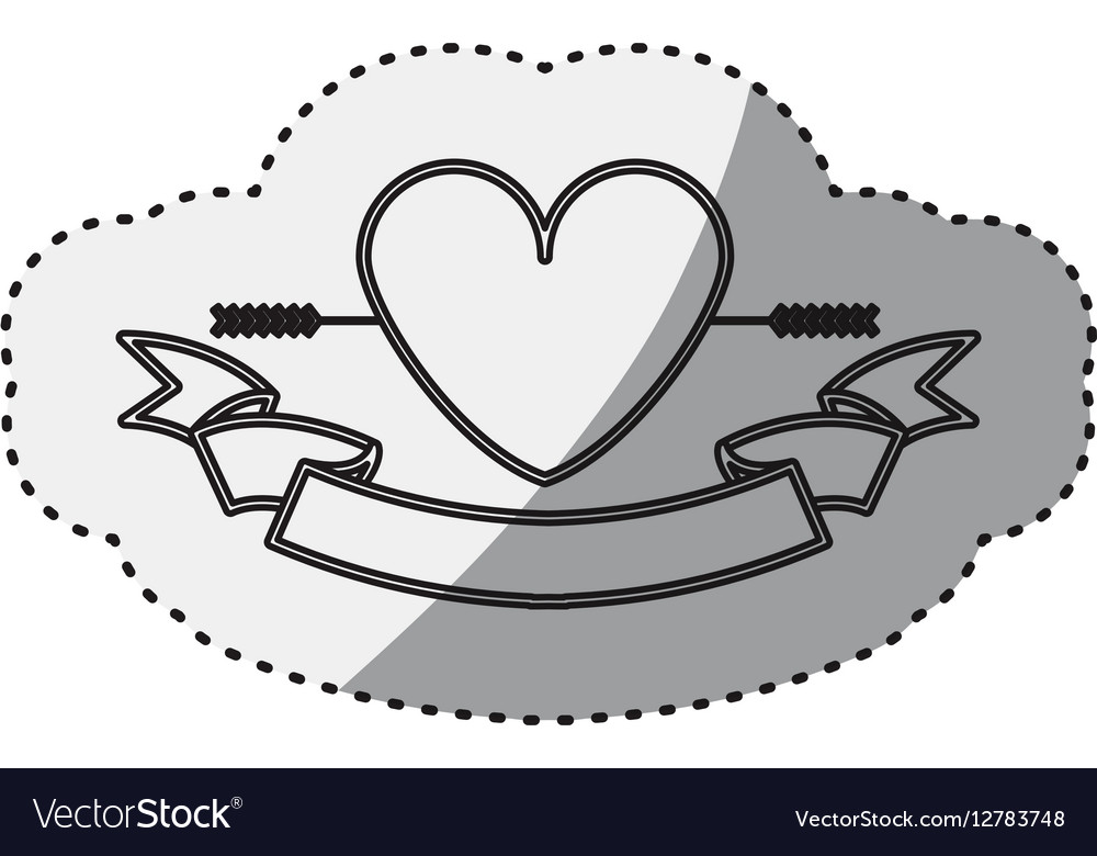 Sticker silhouette heart crossed by arrow and