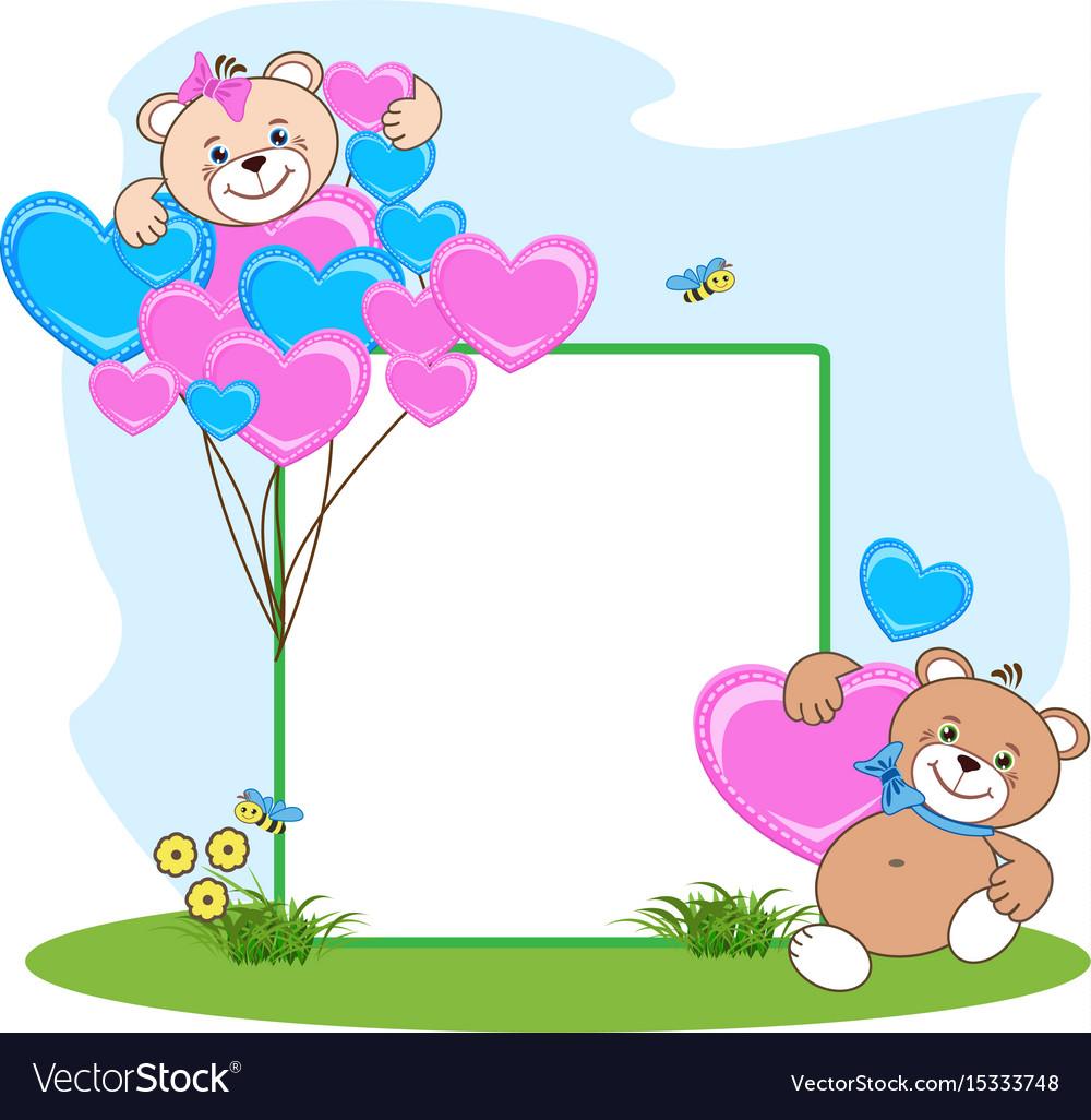 Teddy bear with heart frame Royalty Free Vector Image