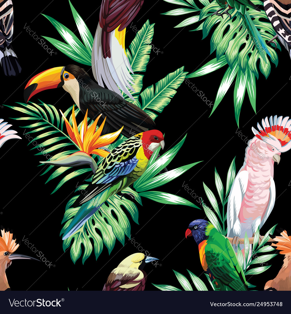 Tropical birds and palm leaves seamless black